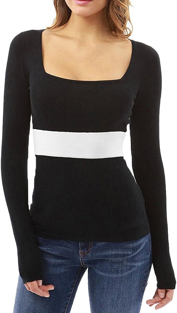 ShiFan Low Cut Camisetas Long Sleeve Blusas Top Camisa Entallada Mujer: Amazon.es: Ropa y accesorios