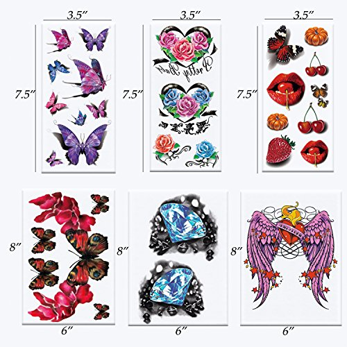 Realistic Ink Temporary Tattoos Kit- for Woman and Girls- 16 Colorful Sheets by Companion Company by Companion Company (Image #2)