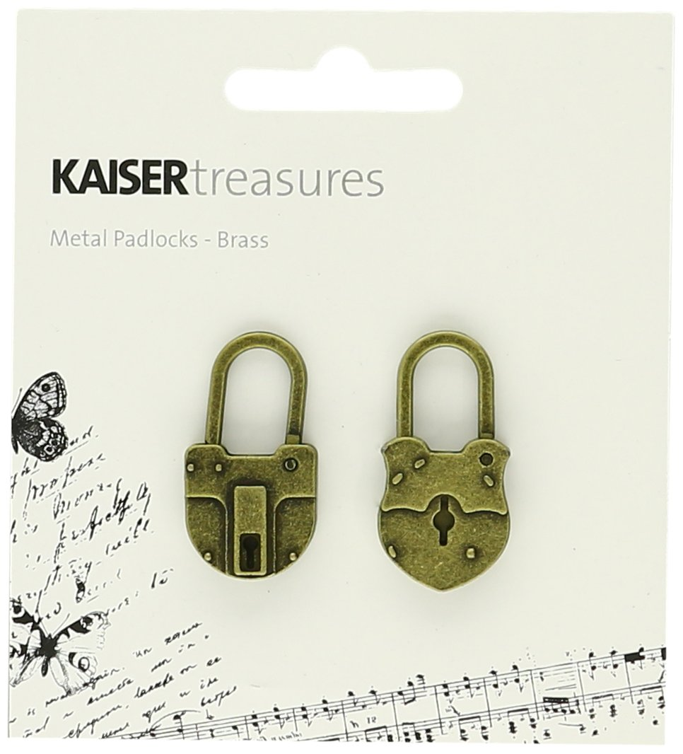 Kaisercraft TM813 Treasures Metal Padlock, 1.5 by 0.75 by 0.25-Inch, Antique Brass, 2-Pack