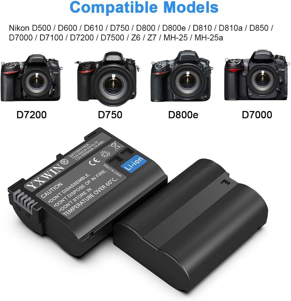 d7200 MH-25a EN-EL15 EN EL15a Camera Battery Charger Set 2-Pack, Micro USB /& Type-C Ports, 2100mAh z6 d500 d7200 YXWIN Replacement Batteries Compatible with Nikon d750 d7500 d610 d850 d810