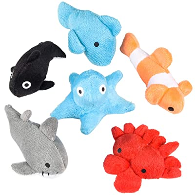 Rhode Island Novelty 3 Inch Sea Life Plush Toys Bag of 24 Pieces: Toys & Games