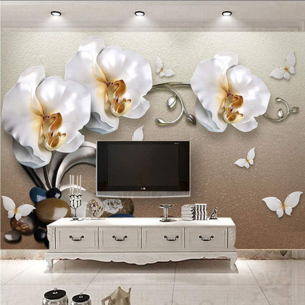 Amazon Com Xbwy 3d Stereo Golden Jewelry Butterfly Orchid Luxury Wallpaper Hotel Living Room Tv Backdrop Wall Decor Flower 3d Mural 350x250cm Kitchen Dining