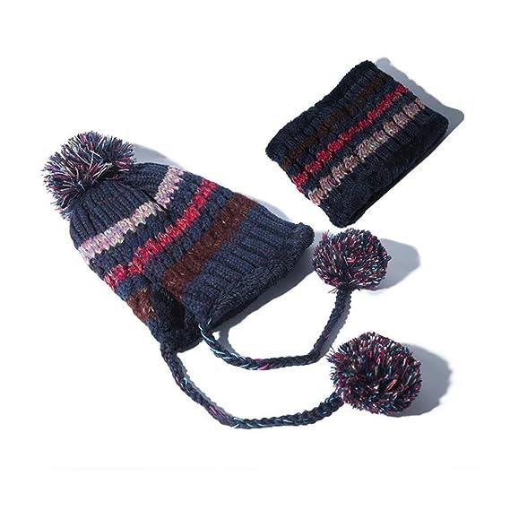 CJC Sombreros De Punto Bufanda Conjunto Chicas Mujer Regalo Invierno Calentar  Espesar Pom Pom Gorrita Tejida Gorra Al Aire Libre (Color   Gray 8e64fac9148