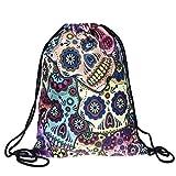 Cheap 3D Print Drawstring Backpack Rucksack Shoulder Bags Gym Bag (Skull1)