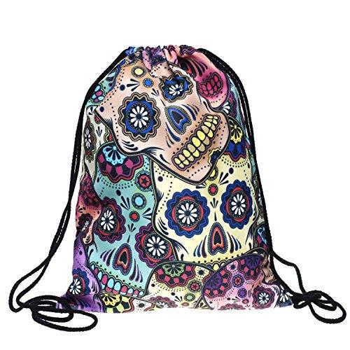 3D Print Drawstring Backpack Rucksack Shoulder Bags Gym Bag (Skull1) (Handbag Print Drawstring Purse)