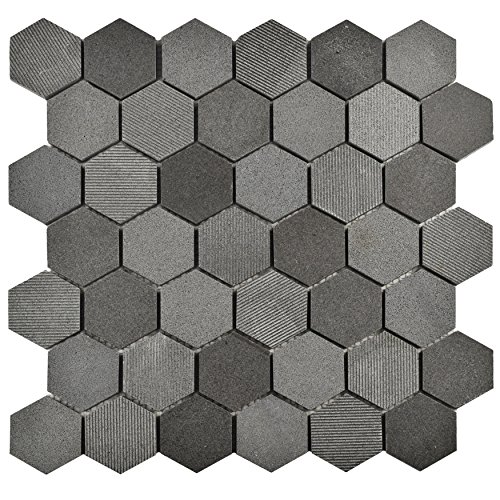 SomerTile FSHSDHBL Egitura Due Hex Lava Volcanic Stone Mosaic Floor and Wall Tile, 11.75