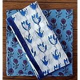 バンダナ 大判 花柄 インド綿 カントリー ナチュラル ハンドブロックプリント 2枚セット ブルー系 ギフト プレゼント a_bn_056