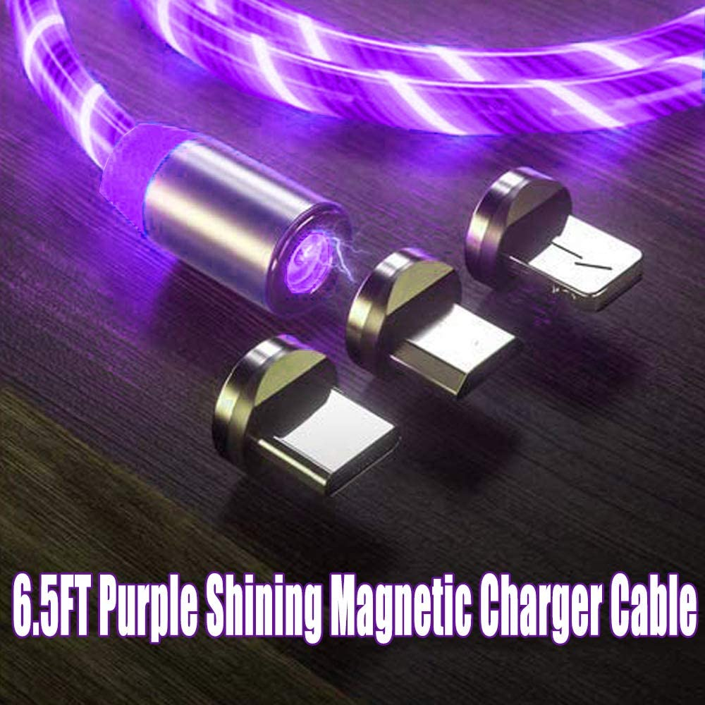 6.5Ft LED Flowing Magnetic Charger Purple Cable Light Up Candy Moving Party Shining Charger Phone Charging Cable Magnetic Streamer Absorption USB Snap Quick Connect 3 in 1 USB Cable