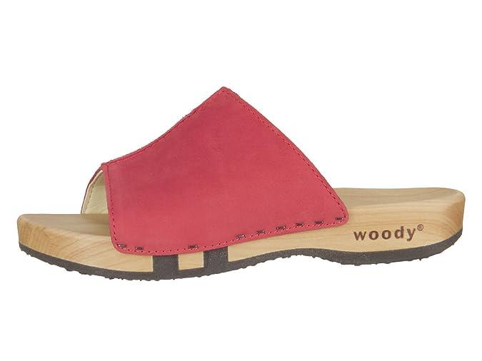 Woody Anja 13223 co Damen Pantolette City Leder Rot (Corallo), 41 EU