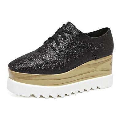 À fond épais chaussures en dentelle à talons hauts chaussures casual chaussures à tête carrée Muffin chaussures simples bas automne Mme chaussures d'ascenseur