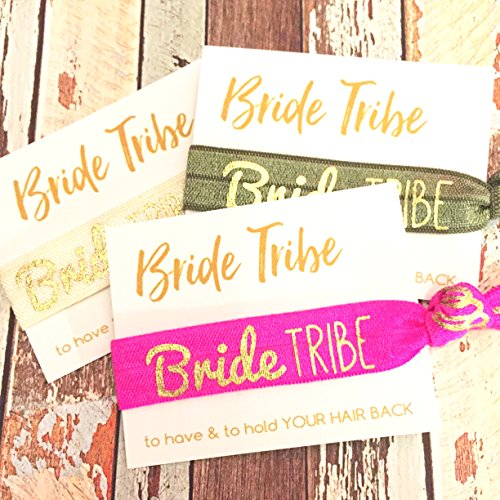 Bachelorette Hair Tie Party Favors (Assorted Gold Foil Bride TRIBE) - Set of 5
