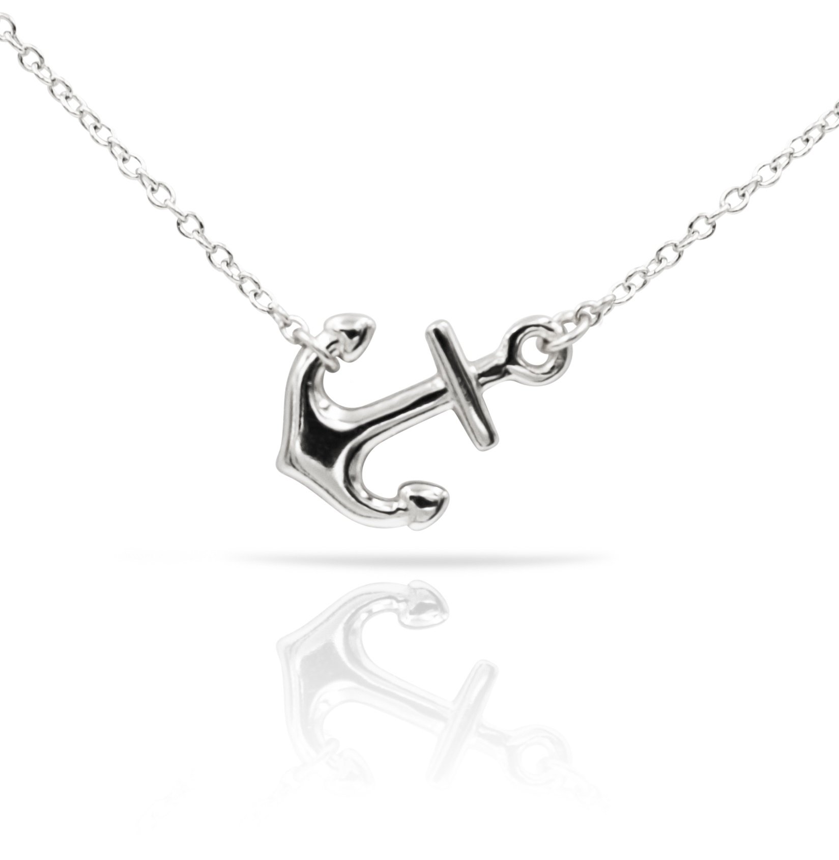 Sterling Silver Pendant Necklace with Polished Sideways Anchor Charm, Plain 925 Silver, Adjustable Chain Length 16'' - 18'', with Jewelry Box