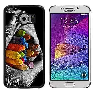 Be Good Phone Accessory // Dura Cáscara cubierta Protectora Caso Carcasa Funda de Protección para Samsung Galaxy S6 EDGE SM-G925 // Colorful Pencils Contrast