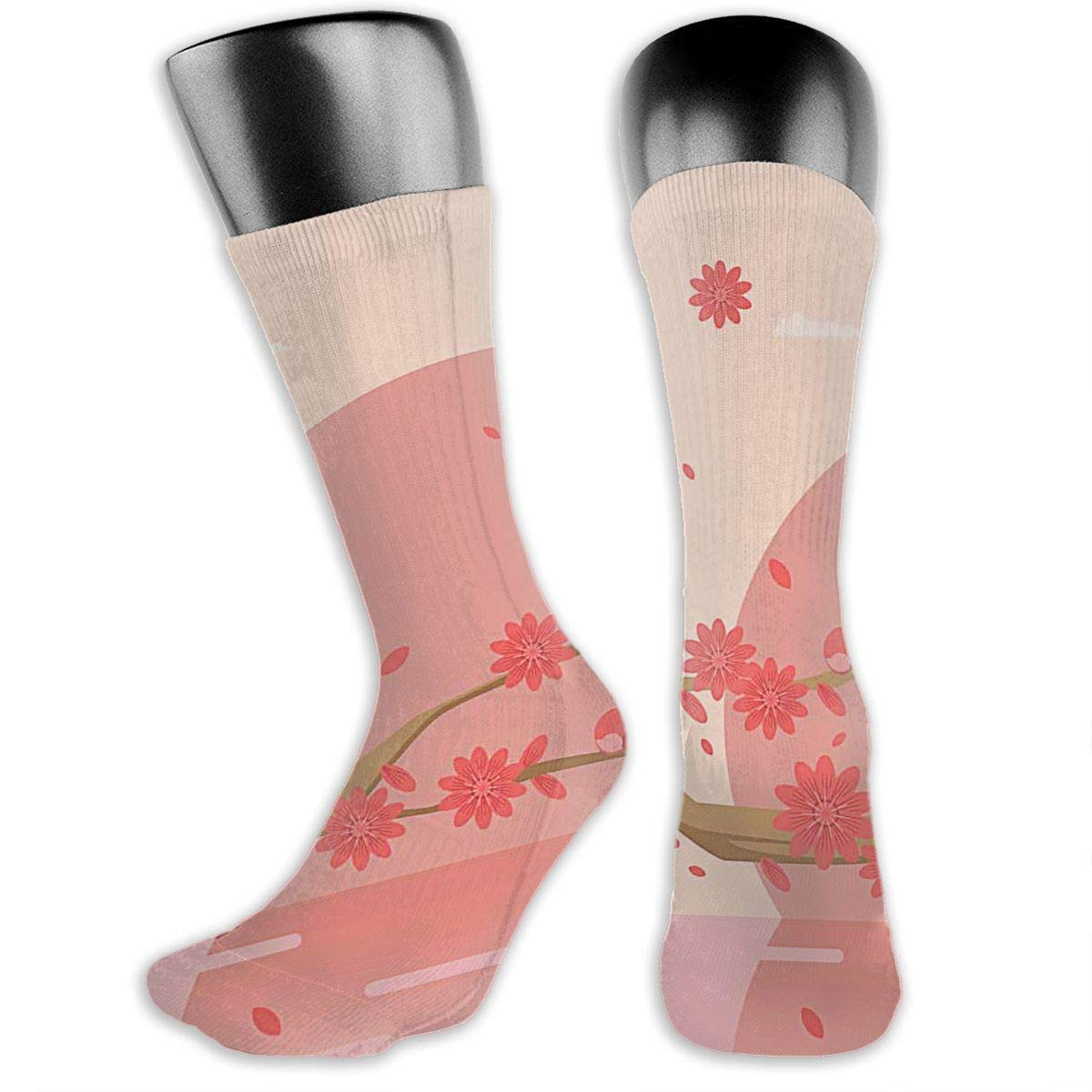 OLGCZM Elegant Spring Decorated with Peach Flowers Men Womens Thin High Ankle Casual Socks Fit Outdoor Hiking Trail