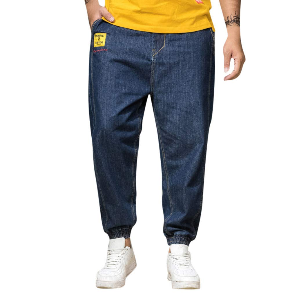 Leadmall Men's Harem Jeans |Men Plus Size Elastic Ankle Tapered Skate Board Relaxed Fit Denim Pants | Fashion Loose Jogger Trouser with Pocket
