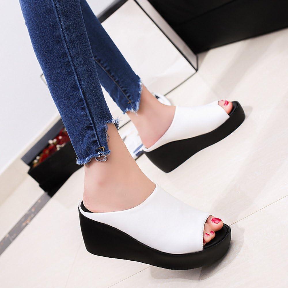 Haoricu High Heel Shoes Women Cross Strap Chunky Heel Wedges Sandal Thick High-Heeled Flip Flop Open Toe Slipper