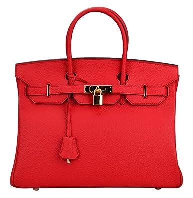 938ba051f5 Bagroo Genuine Leather Handbag Padlock Handbags Satchel Padlock Tote Purse  (Big--35cm