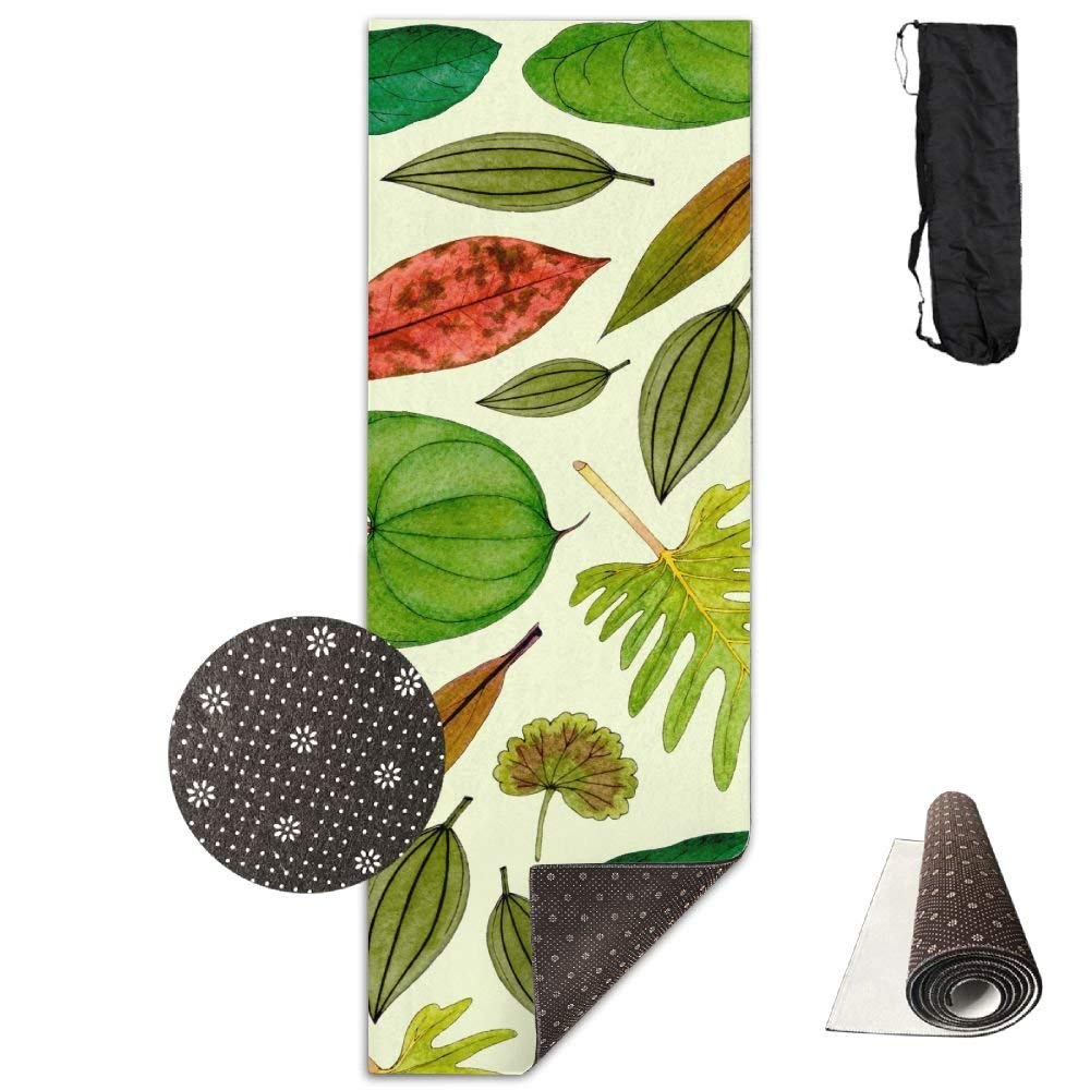 Tropical Leaves Pattern Yoga Mat  Advanced Yoga Mat  NonSlip Lining  Easy to Clean  LatexFree  Lightweight and Durable  Long 180 Width 61cm
