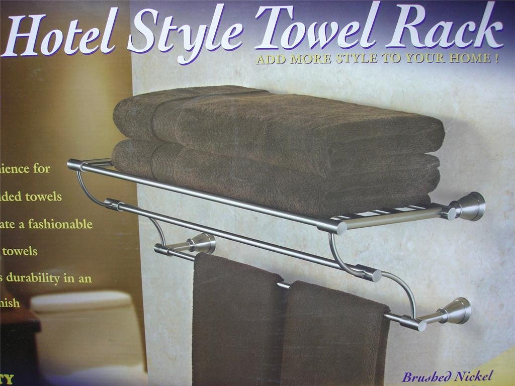 beautiful Hotel Style Towel Rack Brushed Nickel Finish Part - 7: Amazon.com: Hotel Style Towel Rack Brushed Nickel Finish: Wall Mounted Towel  Racks: Kitchen u0026 Dining