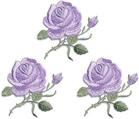 Kids Girls Custom Backpack Patches for Women Flower Patches,Sew On Applique Patch ZOOPOLR 2 Pack Delicate Embroidered Patches Purple Rose Embroidery Patches Iron On Patches