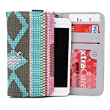 Exxist® Universal Woman's Wristlet Phone Wallet Protective Case with Card Slots Fits Fujitsu Disney Mobile on docomo F-03F | Disney Mobile on docomo F-07E | Stylistic S01 (Tribal Pattern)