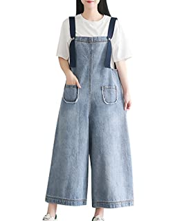 430b768691f Women Dungarees Baggy Jeans Denim Overalls Jumpsuit Wide Leg Pants Trousers  Loose Plus Size Ankle Trousers