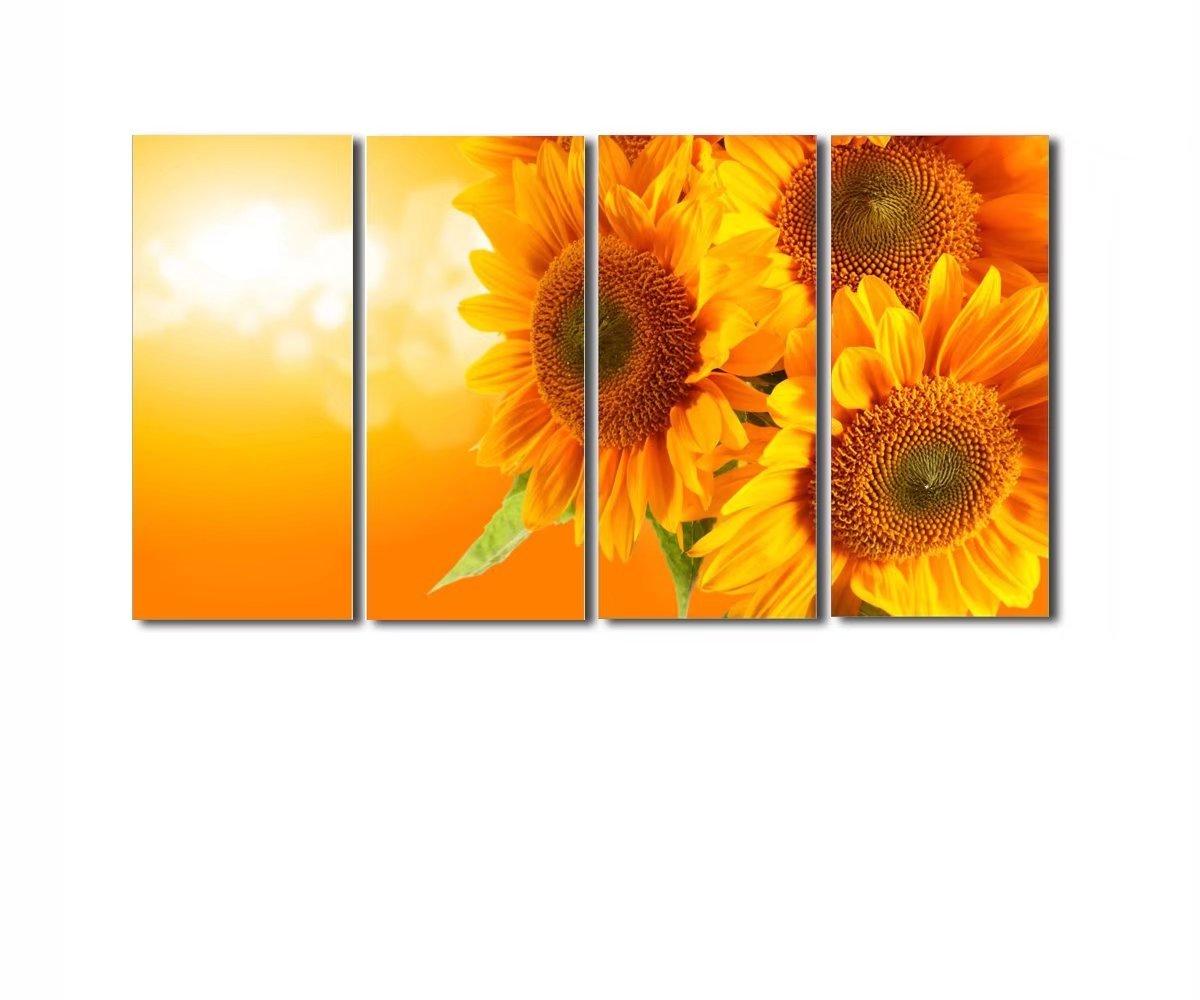 レモンツリーART アートパネル キャンバス絵画 向日葵 ひまわり お花 フラワー インテリア 壁飾り 壁掛け 新築飾り アートフレーム 4パネルセット B073CW2MYR 30x80cmx4パネル 30x80cmx4パネル