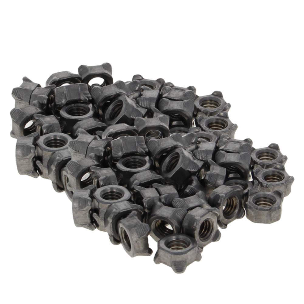 MroMax 10Pcs M10x1.25 Four-Point Welding Female Thread Carbon Steel Square Weld Nuts Silver Tone