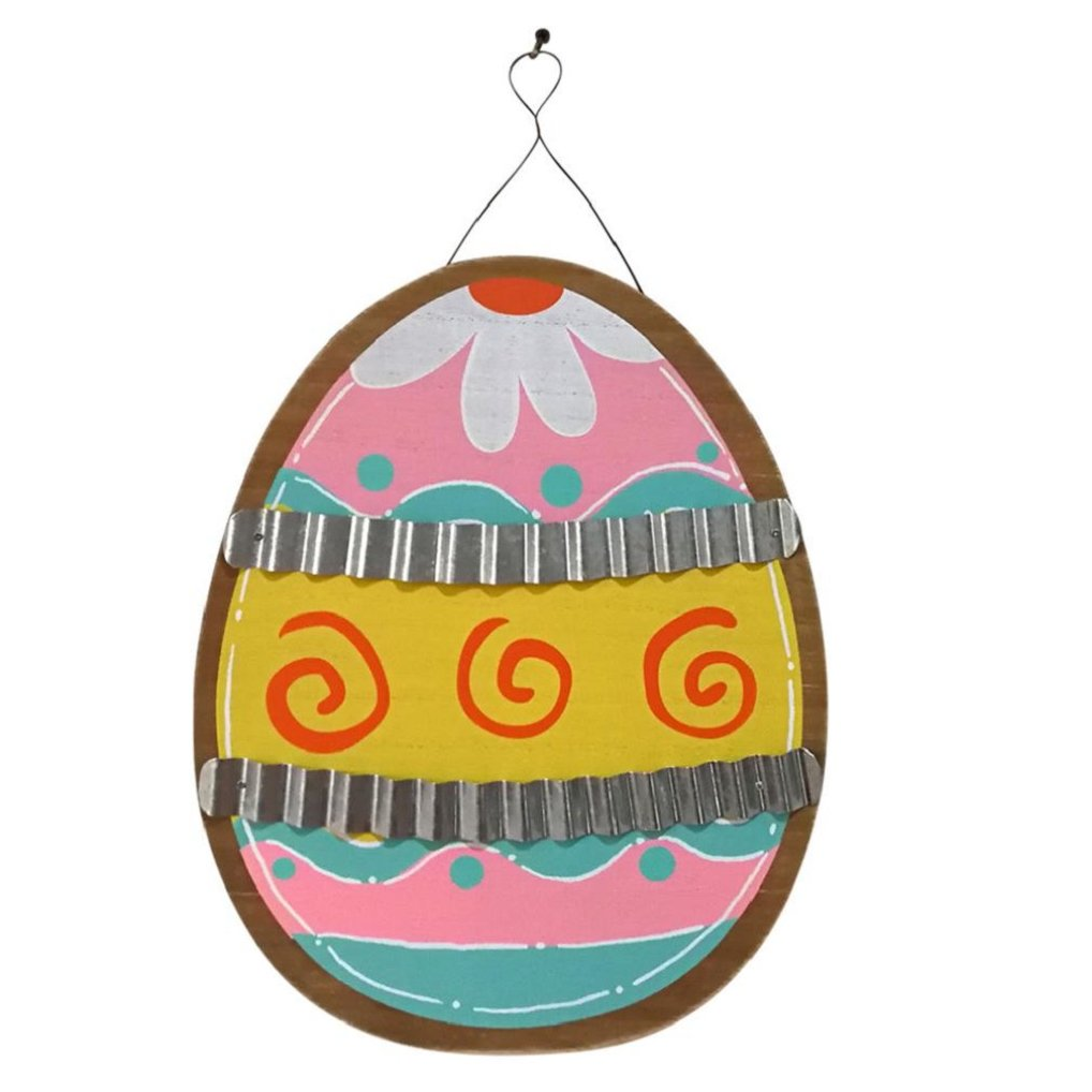 Egg Hanging Plate,Wooden Easter Eggs Corrugated Iron Hanging Board Garden Plate Easter Decoration (A)