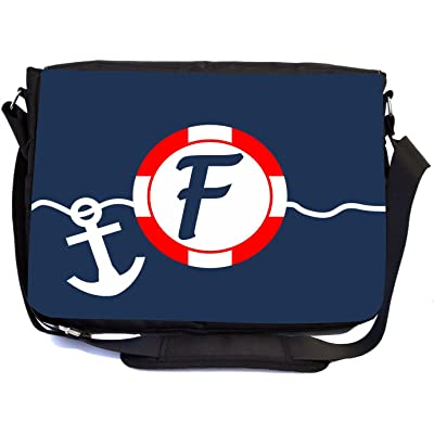 """Rikki Knight Letter """"F"""" SOS Red White on Blue Anchor Design Multifunction Messenger Bag - School Bag - Laptop Bag - with padded insert for School or Work - includes Pencil Case"""