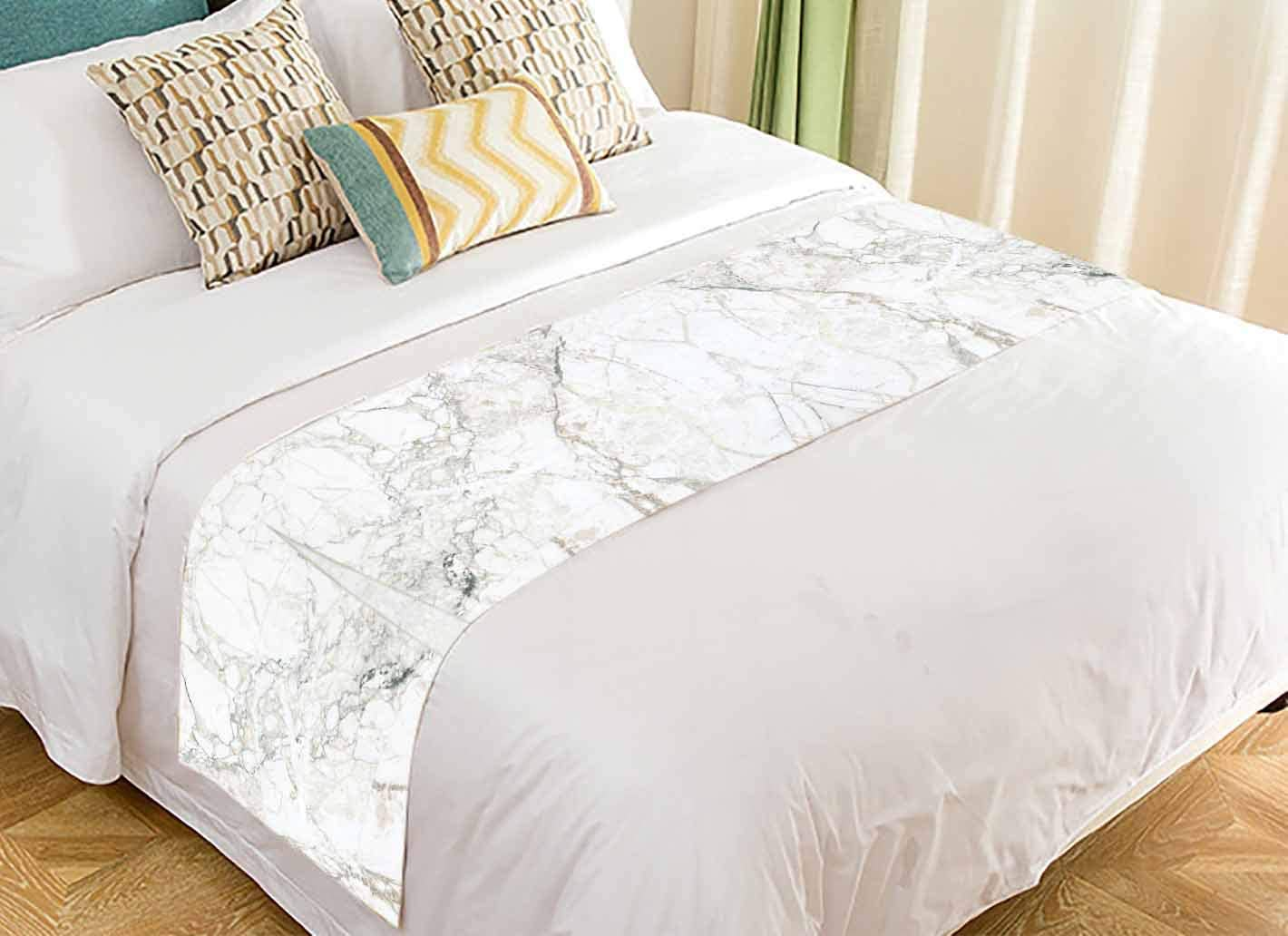 PKQWTM White Marble Texture Bed Runner Bedroom Bedding Decor Bedding Scarf Size 20x95 inches