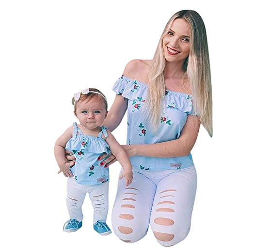 429c2454296 Women Baby Girls Floral Print Off Shoulder Tops T-Shirt Mom&Me Family  Outfits Clothes Mother