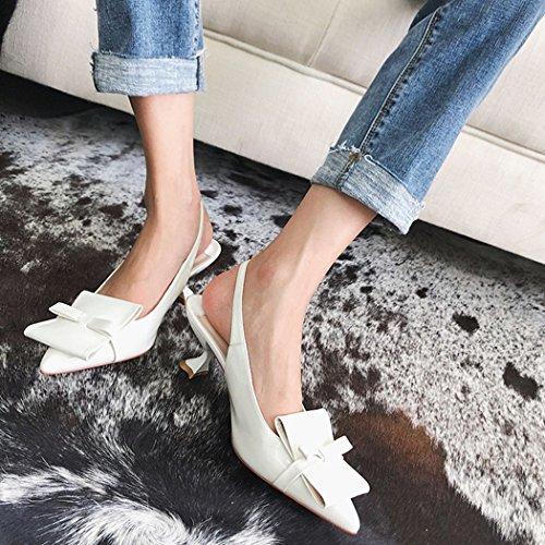 cuero del la mujeres Blanco Career los acentuaron moda verano de de 37 GAOLIXIA tamaño sandalias las hebilla Color Office tacones la altos de señoras de Fc7BqzT