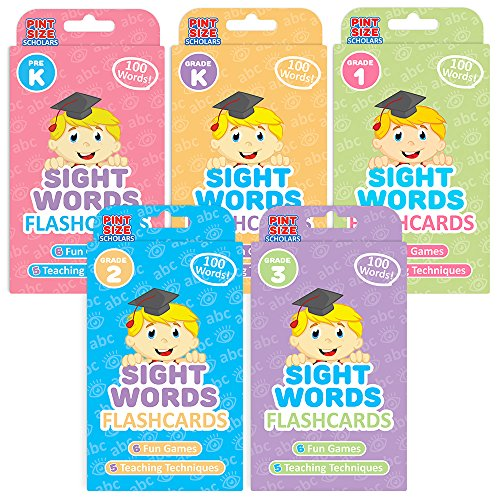 Pint-Size Scholars Ready Readers Bundle: 500 Jumbo-Sized Sight Words Flash Cards in | 5 Levels of Learning from Pre K to Third Grade | 5-Pack of Educational Flashcard Decks for Toddlers and Children -