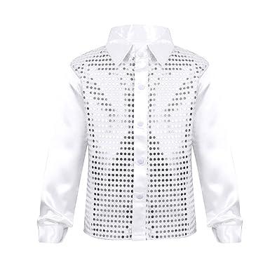 bf2e1d798143e Freebily Enfant Garçon Sequins Chemise T-Shirt à Manche Longue Veste de  Danse Jazz Performance