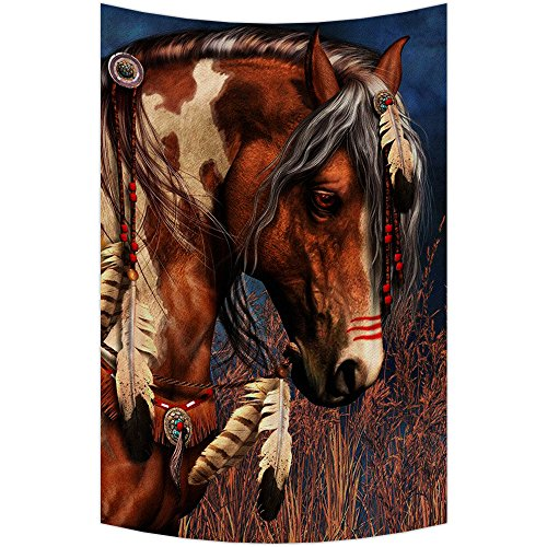 Custom Indian War Horse Tapestry Wall Hanging,Wall Art, Dorm Decor,Wall Tapestries Size 40x60 - Horse Hanging