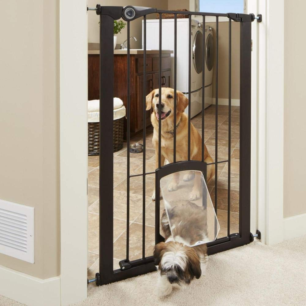 North States 5285 MyPet 39'' wide 42'' tall Extra Tall Petgate Passage: Extra tall secure gate with lockable pet door. Pressure Mount. Fits 29.75''-39'' wide (42'' tall, Matte Bronze)