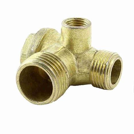 9 mm rosca interior de 3 Vías válvula antirretorno de latón oro de tono para aire