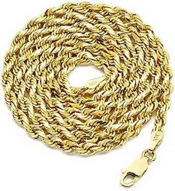LoveBling 10K Yellow Gold 3.5mm Solid Diamond Cut Rope Chain Necklace with Lobster Lock