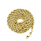 LoveBling 10K Yellow Gold 3.5mm Solid Diamond Cut Rope Chain Necklace with Lobster Lock фото