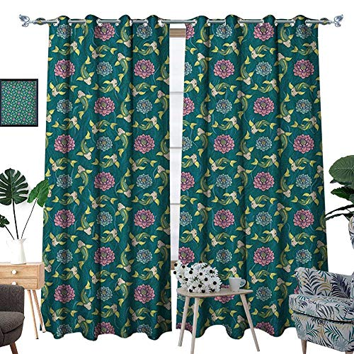 Fish Waterproof Window Curtain Asian Traditional Carp Koi Lily Pattern Japanese Traditional Motifs Marine Blackout Draperies for Bedroom W96 x L84 Teal Coral Pale - Spider Lily Japanese