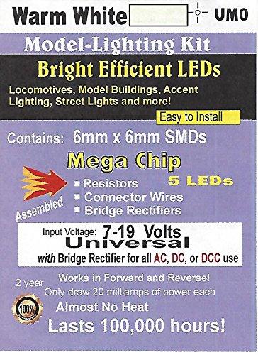 5 Chips Warm White Led - Evan Designs UM0 5mm square Mega Warm White SMD Chip by