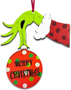 Joy Day Grinch Decorations Christmas Grinch Door Hanger Holiday Hanging Sign Decor for Xmas Themed Party Birthday Event New Year Party Christmas Door Decorations