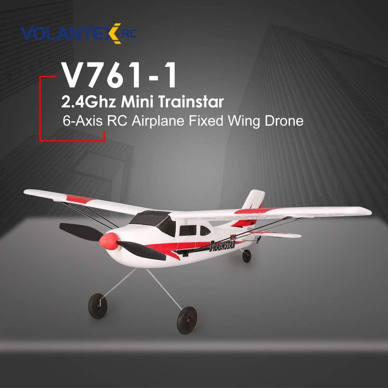 Lorenlli Fit VOLANTEX V761-1 2.4Ghz 3CH Mini Trainstar 6-Axis Remote Control RC Airplane Fixed Wing Drone Plane RTF for Kids Gift Present