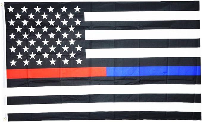 3 x 5 delgada línea azul Policía y fina línea roja bomberos respeto y Honor de aplicación de la ley First Responder nosotros bandera 3 x 5 pies EE. UU. por ERT: Amazon.es: Jardín