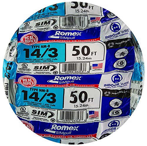 Southwire 63946822 50 14/3 with ground Romex brand SIMpull residential indoor electrical wire type NM-B, White