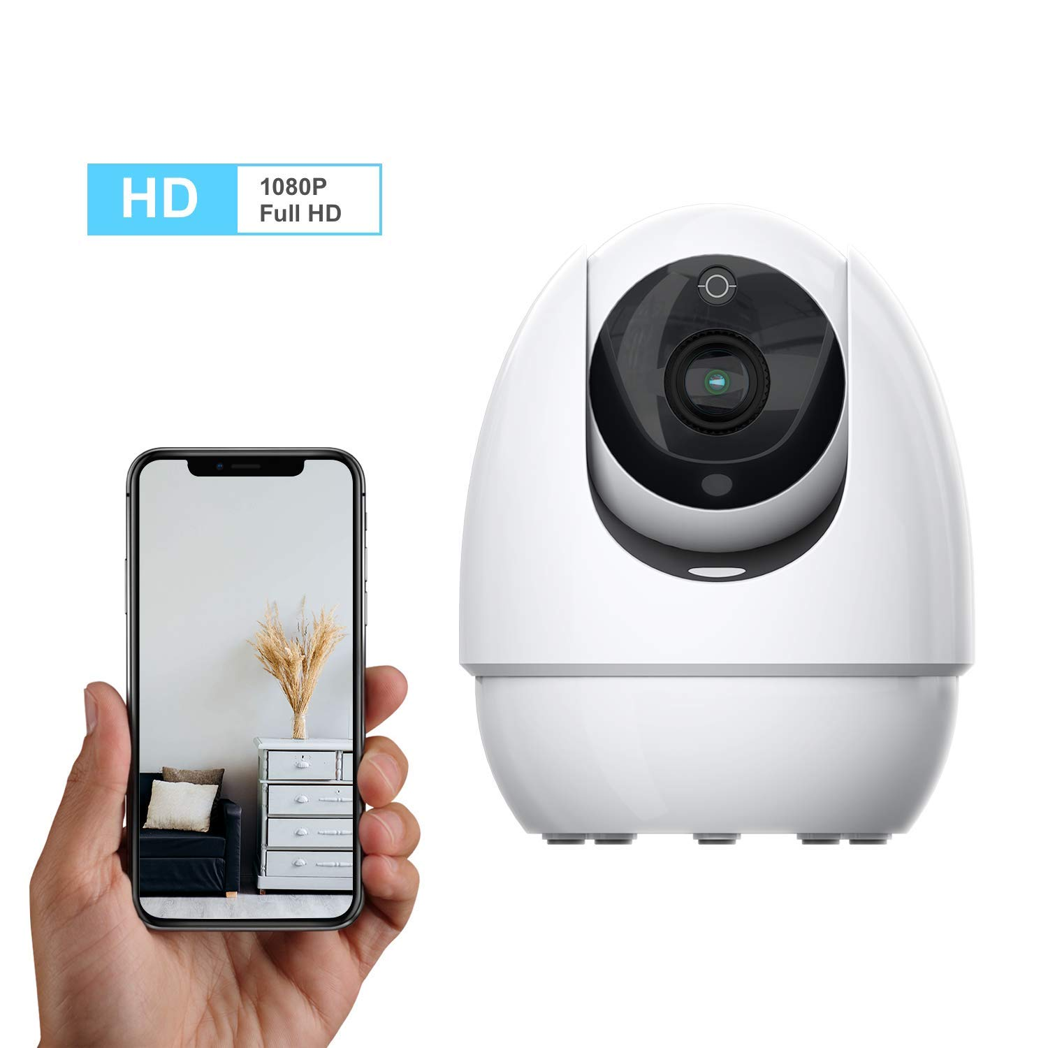 Home Security 1080P Camera, Wonbo Wireless Surveillance Pet Baby Dog Monitor IP Camera with 2.4G WiFi Two-Way Audio IR Night Vision (Android/iOS)