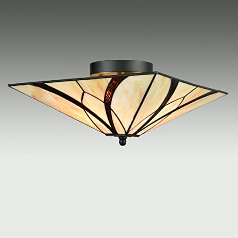 Eul tiffany style mission semi flush ceiling light antique brass and eul tiffany style mission semi flush ceiling light antique brass and art colorful glass shade 3 aloadofball Choice Image