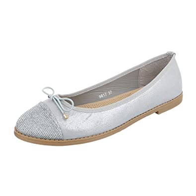 Ital-Design Ballerinas Damen-Schuhe Geschlossen Blockabsatz Blockabsatz Ballerinas Silber, Gr 41, 9817-