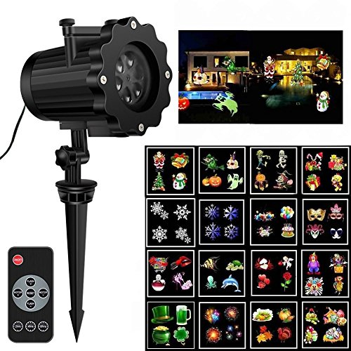 New Christmas Projector light, High Brightness 16 Pattern Slides Garden Lamp Waterproof Landscape Projection Lighting with 60ft RF Remote for Halloween Christmas Holiday Party Decor
